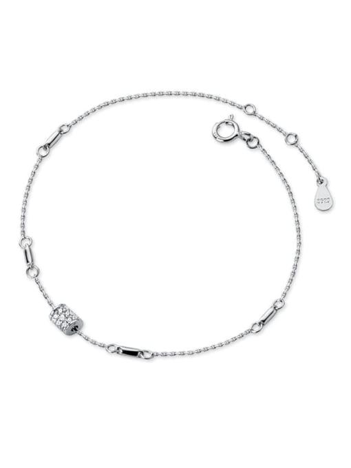 Rosh 925 Sterling Silver Cubic Zirconia Geometric Minimalist Link Bracelet 2