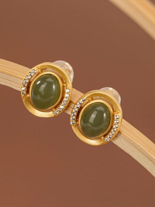 Blue jade (a pair) 925 Sterling Silver Jade Oval Vintage Stud Earring