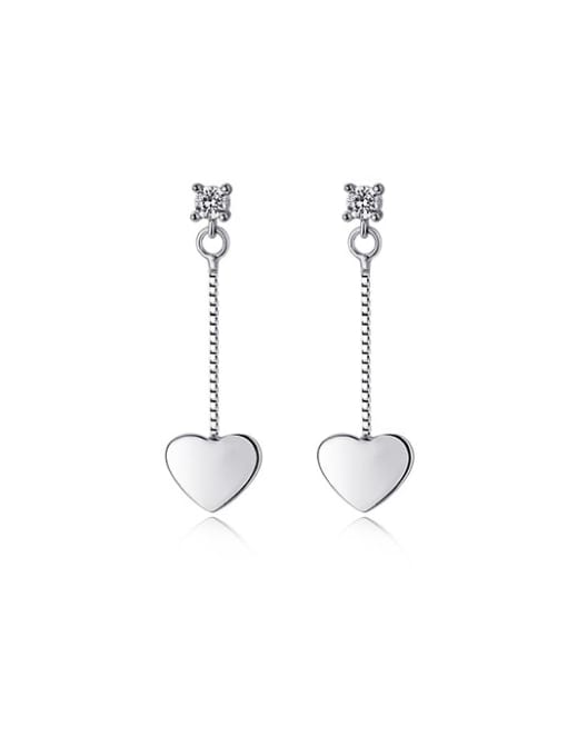 Rosh 925 Sterling Silver Smooth Heart Minimalist Threader Earring