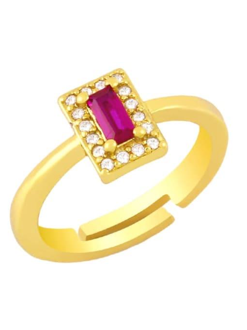 red Brass Cubic Zirconia Geometric Minimalist Band Ring
