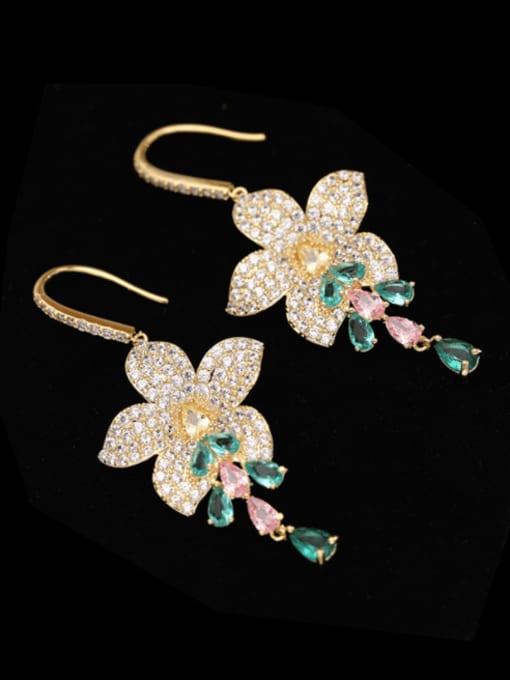Luxu Brass Cubic Zirconia Flower Luxury Hook Earring 0