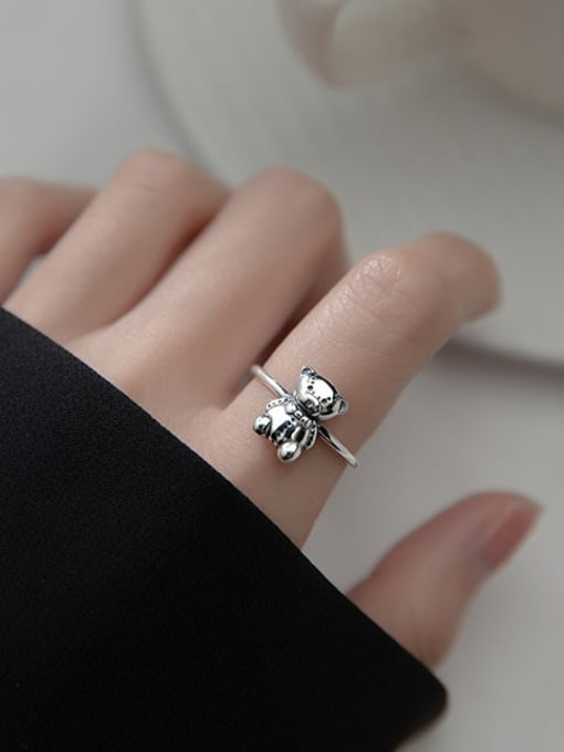 Rosh 925 Sterling Silver Small Bear Vintage Band Ring 1