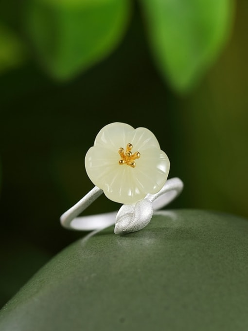 DEER 925 Sterling Silver Jade Flower Cute Band Ring