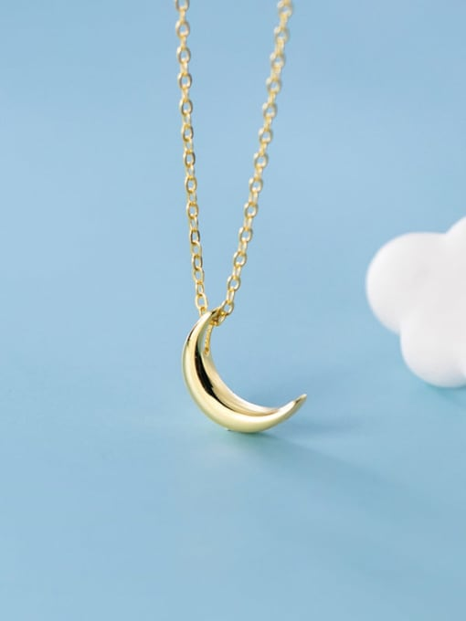 Rosh 925 Sterling Silver smooth Moon Minimalist pendant Necklace 1