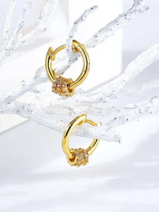 CHARME Brass Cubic Zirconia Round Minimalist Huggie Earring 1
