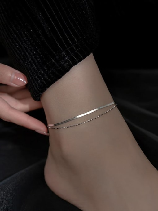 Rosh 925 Sterling Silver Geometric Minimalist Multi-layer  Anklet