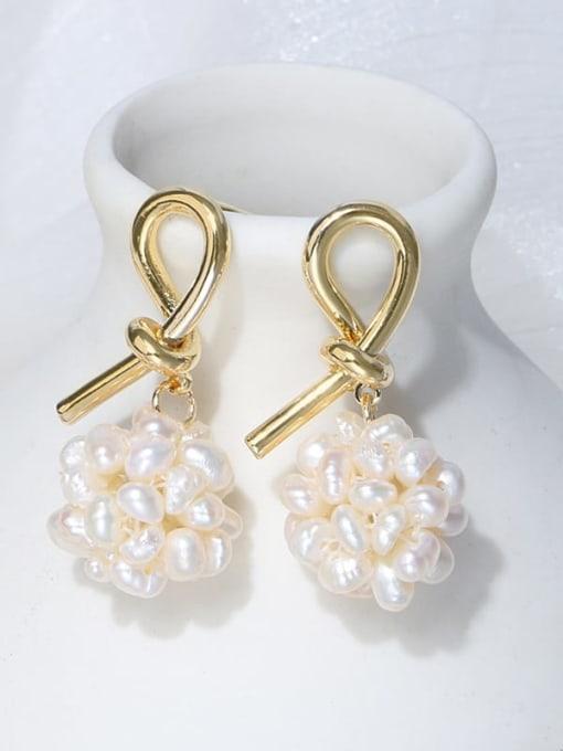 RAIN Brass Freshwater Pearl Bowknot Vintage Stud Earring 0