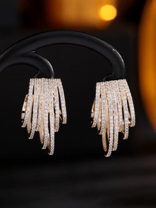 Luxu Brass Cubic Zirconia Geometric Statement Stud Earring 4