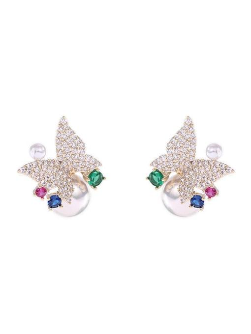 Luxu Brass Cubic Zirconia Butterfly Luxury Stud Earring