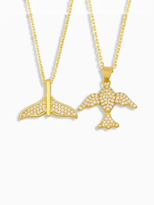 CC Brass Cubic Zirconia Fish Vintage Necklace