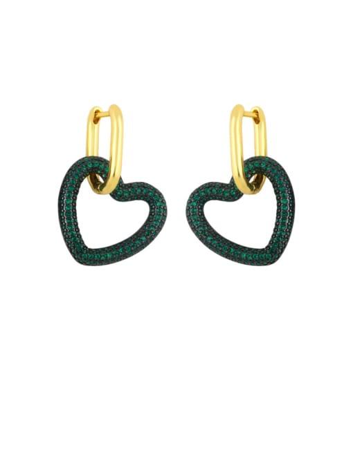 green Brass Cubic Zirconia Heart Vintage Huggie Earring