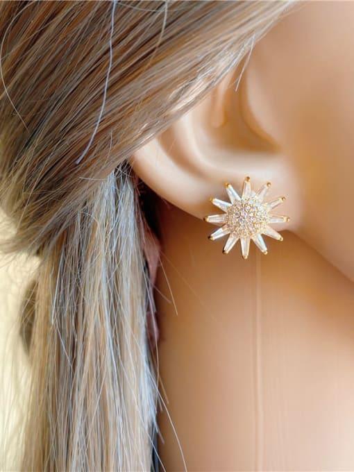 DUDU Brass Cubic Zirconia Sun Flower Luxury Stud Earring 1