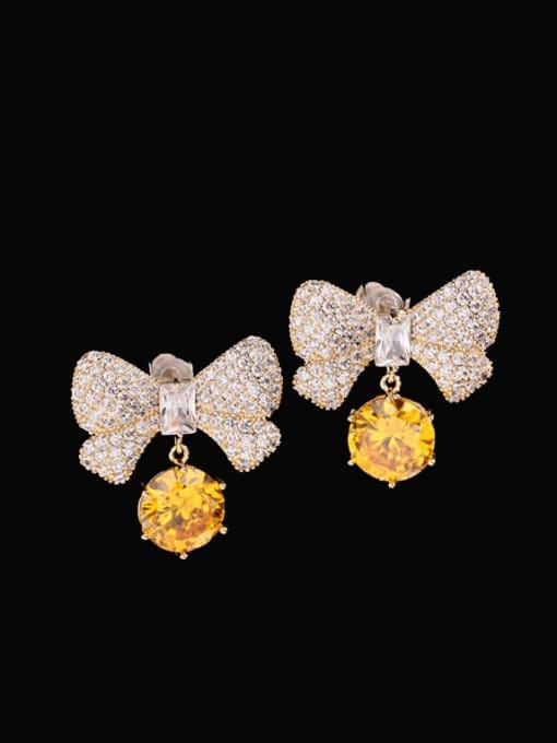 White zirconium Brass Cubic Zirconia Butterfly Bohemia Stud Earring