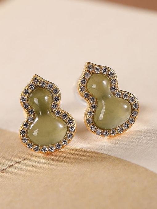 DEER 925 Sterling Silver Jade Irregular Vintage Drop Earring 0