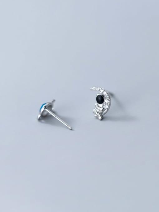 Rosh 925 Sterling Silver Cubic Zirconia Enamel Star Minimalist Stud Earring 4