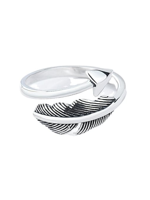 XBOX 925 Sterling Silver Feather Vintage Band Ring 0