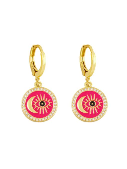 Rose red Brass Enamel Evil Eye Vintage Huggie Earring