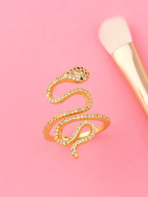CC Brass Cubic Zirconia Snake Vintage Band Ring 2
