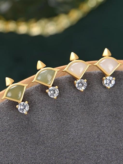 DEER 925 Sterling Silver Jade Triangle Vintage Stud Earring 0