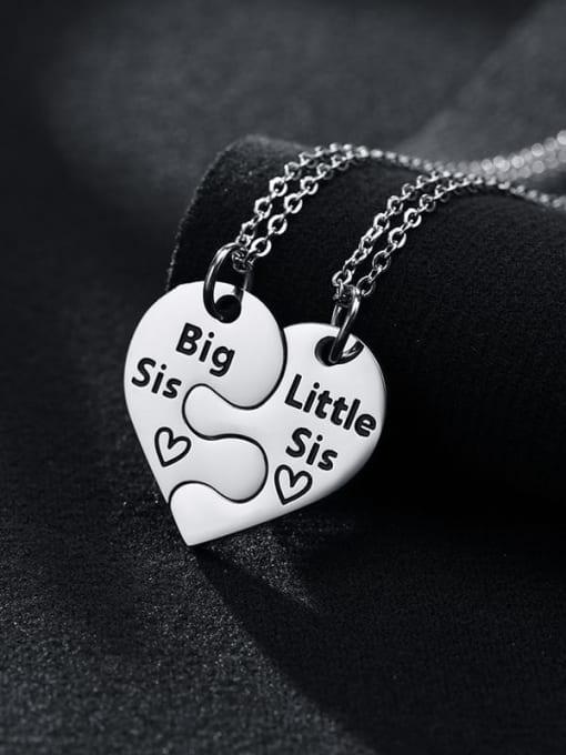 CONG Titanium Steel Heart Minimalist  Letter Penadant Necklace 1