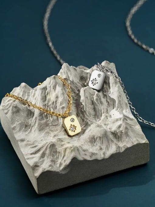 CHARME Brass Rhinestone Minimalist geometry Pendant Necklace 1