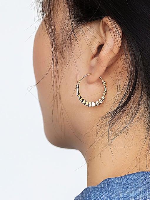 CHARME Brass Smooth Geometric Vintage Huggie Earring 2