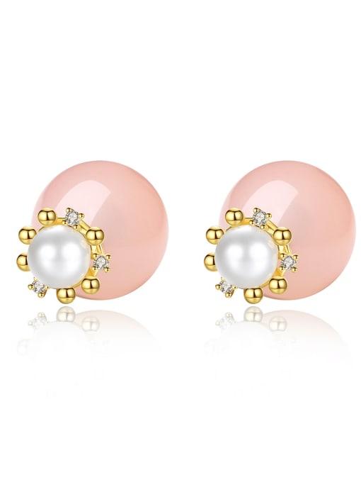 BLING SU Copper Imitation Pearl Round Minimalist Stud Earring