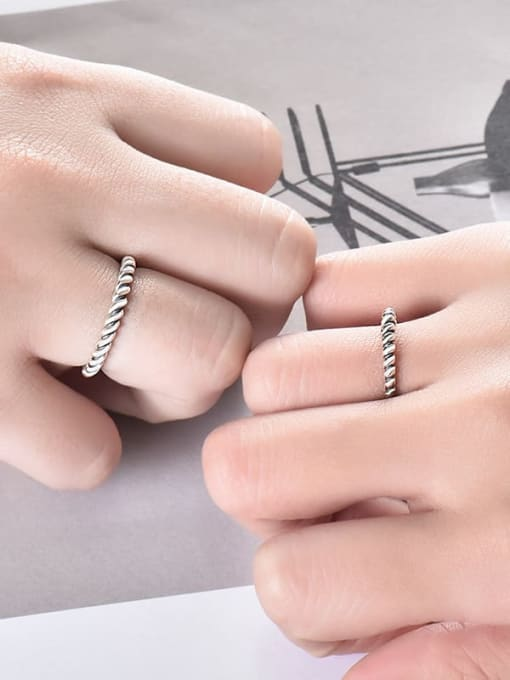 XBOX 925 Sterling Silver Irregular Vintage Couple Ring 2