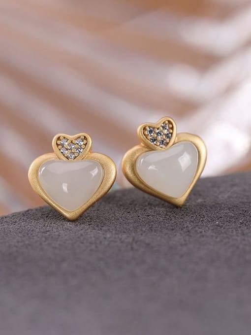 DEER 925 Sterling Silver Jade Heart Cute Stud Earring