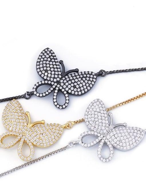 CC Brass Cubic Zirconia Butterfly Dainty Adjustable Bracelet 3