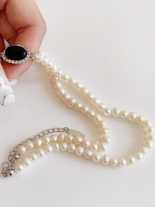 Boomer Cat 925 Sterling Silver Imitation Pearl Oval Vintage Necklace 3