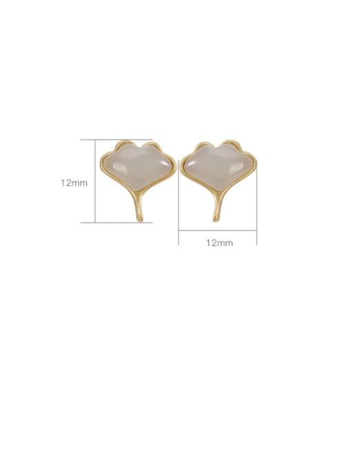 DEER 925 Sterling Silver Jade Leaf Vintage Stud Earring 3