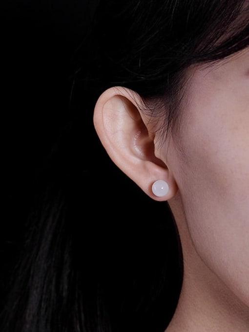 DEER 925 Sterling Silver Jade Round Ball Minimalist Stud Earring 1
