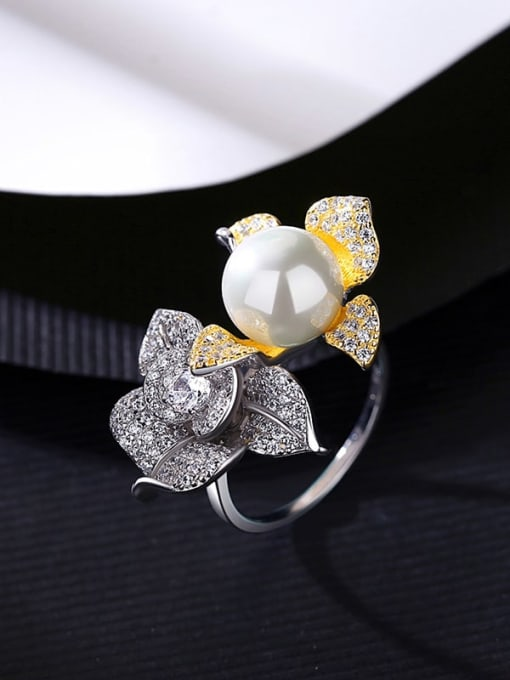 Platinum 13i12 925 Sterling Silver Cubic Zirconia Flower Luxury Band Ring