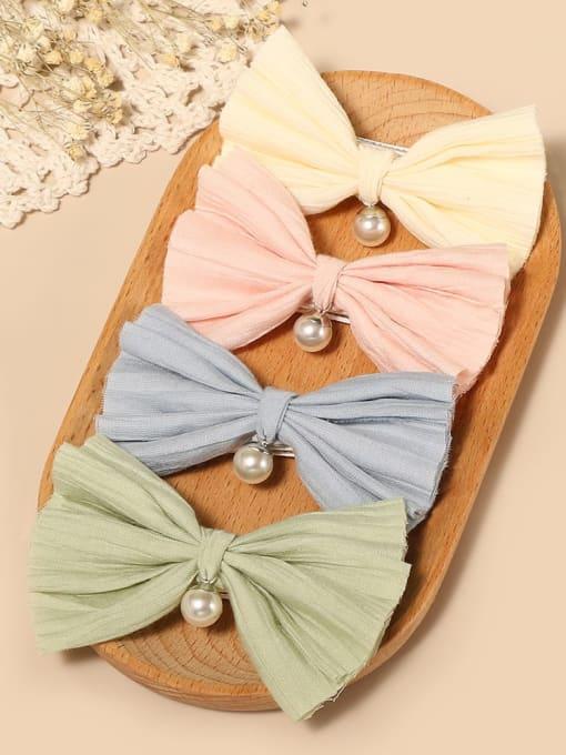 YOKI KIDS Alloy Cotton Cute Bowknot  Multi Color Hair Barrette 1