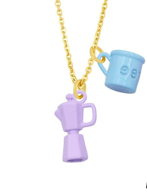 A (light blue light purple) Brass Enamel Irregular Vintage Necklace