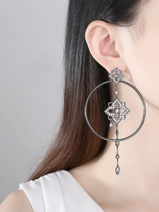 BLING SU Brass Cubic Zirconia Geometric Ethnic Threader Earring 1