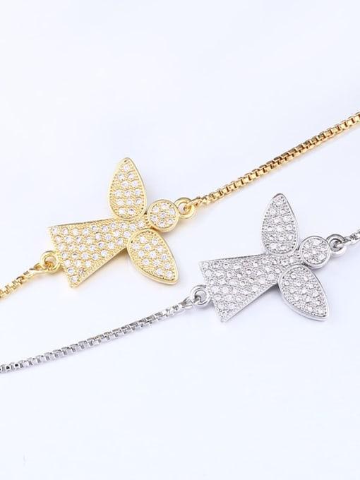 CC Brass Cubic Zirconia Angel Minimalist Link Bracelet 4