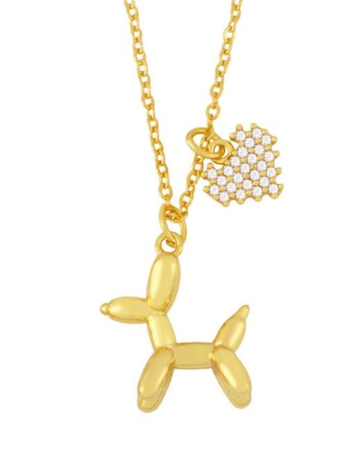B Brass Cubic Zirconia Animal Vintage Necklace