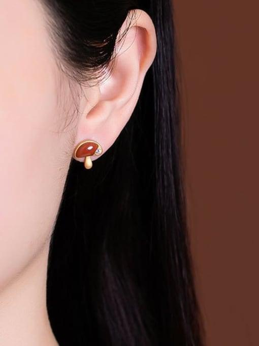 DEER 925 Sterling Silver Carnelian Mushroom Cute Stud Earring 1