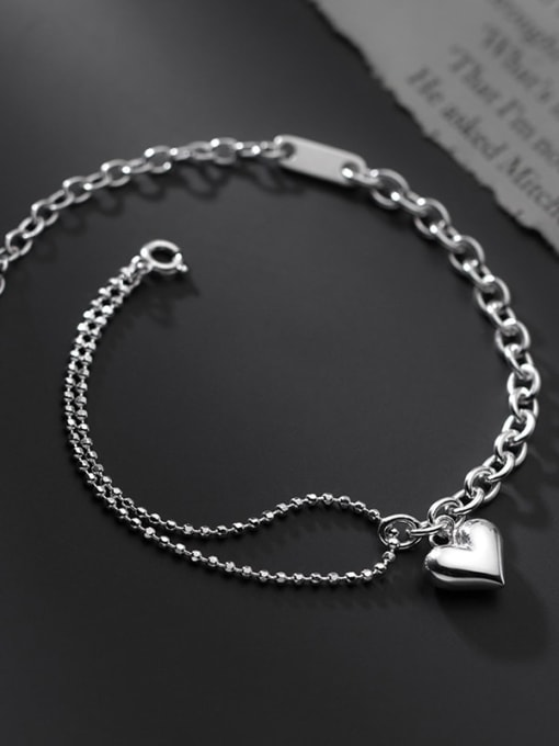 Rosh 925 Sterling Silver  Minimalist Double layer glossy love asymmetrical bracelet 1