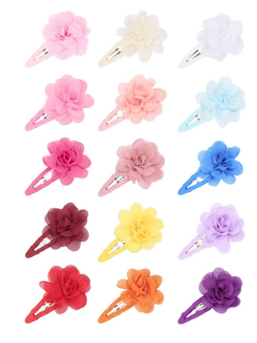 21 a pack of 20, one for each color Alloy Yarn Minimalist Flower  Multi Color Hair Barrette