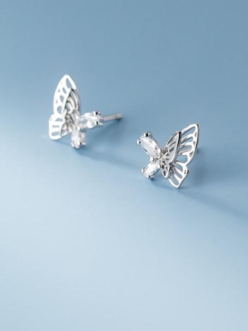 Rosh 925 Sterling Silver Rhinestone Butterfly Minimalist Stud Earring