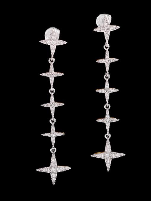 platinum Brass Cubic Zirconia Cross Minimalist Drop Earring