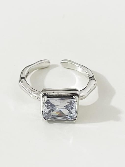 Diamond ring j1634 925 Sterling Silver Glass Stone Geometric Vintage Band Ring