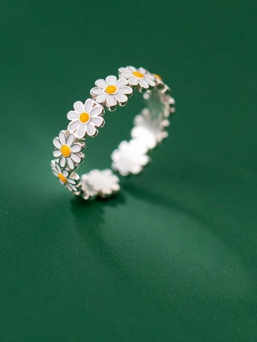 Rosh 925 Sterling Silver Flower Minimalist Band Ring 0