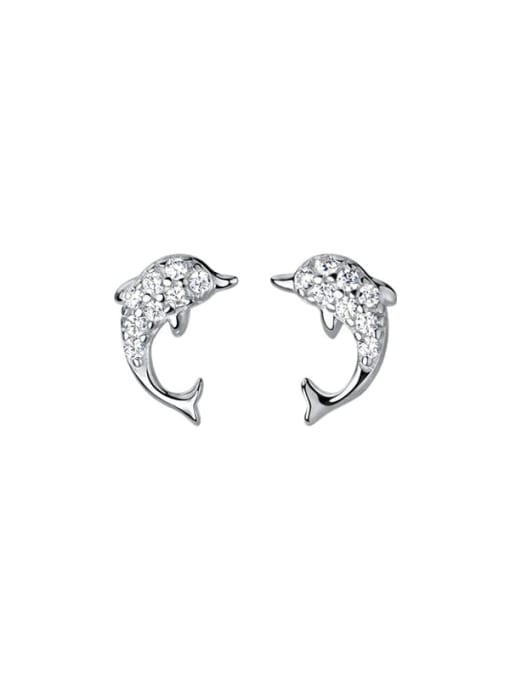 Rosh 925 Sterling Silver Cubic Zirconia Dolphin Cute Stud Earring 4