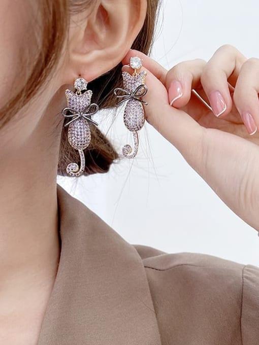 Luxu Brass Cubic Zirconia Cat Cute Drop Earring 1