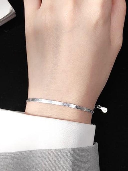 Rosh 925 Sterling Silver Minimalist Flat snake bone chain bracelet  Link Bracelet 1