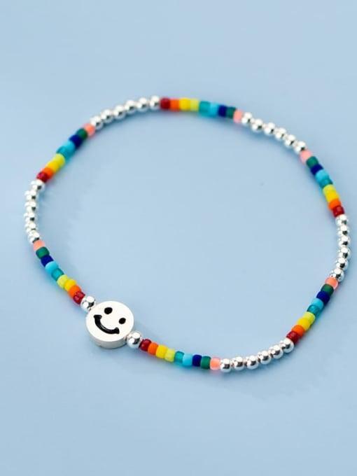 Rosh 925 Sterling Silver Multi Color Round Minimalist Stretch Bracelet
